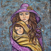 Folk Art Paintings - Mom and Child by Rain Ririn