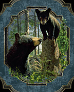 Cabin Painting Prints - Mom and Cub Bear Print by JQ Licensing