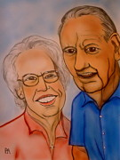 Parents Drawings Prints - Mom and Dad Print by Pete Maier