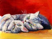 Kitten Prints Drawings Prints - Mom and kitten cat painting Print by Svetlana Novikova