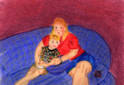 People Pastels Posters - Mom and Me Poster by Arlene  Wright-Correll