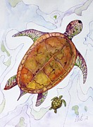 Baby Sea Turtle Paintings - Mom and Me by Pat Purdy