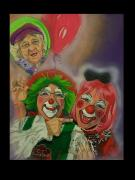 Sisters Drawings - Mom and Sister Clowns by Alma  Lee -A Lee- Smith
