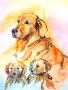 Puppies Painting Originals - Mom Loves Us by Donna Martin