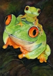 Tree Frog Art - Mom N Babe by Gina Hall