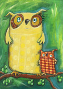 Crafts For Kids Prints - Mom Owl Print by Sonja Mengkowski