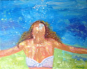 Woman In Water Painting Posters - MoMaid Poster by Valerie Twomey