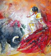 Bulls Painting Posters - Moment of Truth 2010 Poster by Miki De Goodaboom