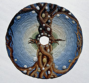 Tree Art Reliefs Posters - Momentary Node of Connection - Tears of Stone Poster by Arla Patch