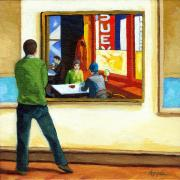 Linda Apple Posters - Moments with Hopper - portrait oil painting Poster by Linda Apple