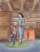Mountain Cabin Drawings Posters - Moments With Mom Poster by Dawn Senior-Trask