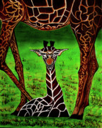 Mother And Baby Giraffe Paintings - Mommas Boy by Adele Moscaritolo