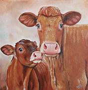 Cows Acrylic Prints - Mommas Boy Acrylic Print by Laura Carey