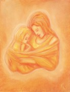 Warm Pastels Posters - Mommy and Me Poster by Cassandra Geernaert