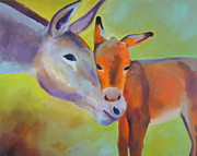 Donkey Foal Painting Framed Prints - Mommy Framed Print by Diana Prickett