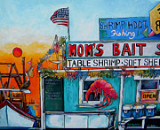 Pelican Painting Originals - Moms Bait Shop by Patti Schermerhorn