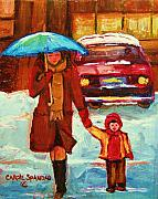 Montreal Streets Painting Originals - Moms Blue Umbrella by Carole Spandau