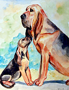 Bloodhound Posters - Moms Day - Bloodhound Poster by Lyn Cook