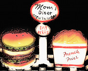 French Fries Digital Art Posters - Moms Diner - Open 24 Hours Poster by Steve Ohlsen