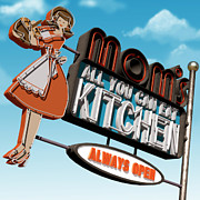 Sign Posters - Moms Diner Poster by Anthony Ross