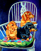 Puppies Paintings - Moms in the Kitchen - Dachshund by Lyn Cook