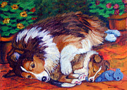 Puppies Paintings - Moms Love - Shetland Sheepdog by Lyn Cook