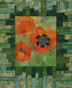 Fabric Mixed Media - Moms Poppies by Lauren Everett Finn