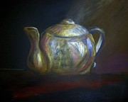 Golden Brown Pastels Prints - Moms Teapot - Alice Print by AE Hansen