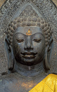 Valuable Prints - Mon Stone Buddha Head - Thailand Print by Craig Lovell