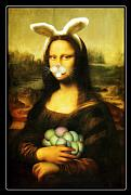 Ears Mixed Media Posters - Mona Lisa Bunny Poster by Gravityx Designs