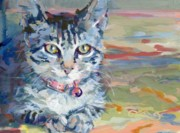 Gray Cat Paintings - Mona Lisa by Kimberly Santini