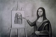 Painter Mixed Media - Mona Lisa Painting the Portrait of Leonardo Da Vinci      by Luigi Carlo