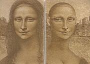 Female Figurative Paintings And Drawings - Mona Lisa Past and Present by Gary Kaemmer