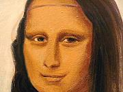 Copy Drawings Posters - MONA LISA  zoom of the face Poster by Patty Meotti