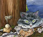Cats Drawings Originals - Mona with the Mushrooms by Mindy Lighthipe