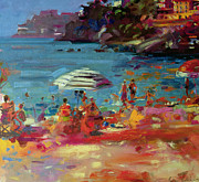Sunbathing Paintings - Monaco Coast by Peter Graham