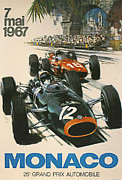 Grand Prix Framed Prints - Monaco Grand Prix 1967 Framed Print by Nomad Art And  Design