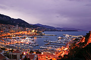 Urban Photograph Framed Prints - Monaco Harbor at Night Framed Print by Matt Tilghman