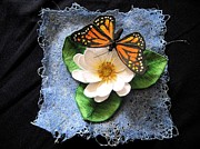 Insect Tapestries - Textiles - Monarch and the Lily by Manuala Marshal