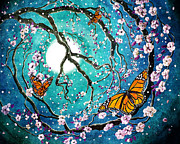 Sakura Digital Art Prints - Monarch Butterflies in Teal Moonlight Print by Laura Iverson