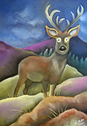 Deer Pastels Posters - Monarch of the Glen Poster by Caroline Peacock