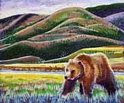 Grizzly Pastels Prints - Monarch of the Lamar Print by Harriet Peck Taylor
