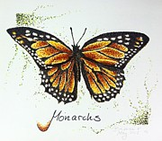 Dot Drawings Prints - Monarchs - Butterfly Print by Katharina Filus