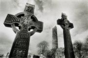 Black And White Symbolism Art - Monasterboice, Co Louth, Ireland, High by Sici