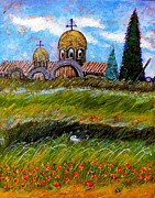 Greek Orthodox Painting Originals - Monastery in Greece by Ion vincent DAnu
