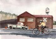 Vintage Bike Painting Originals - Monday commute by Mimi Boothby