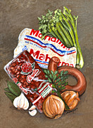 Creole Paintings - Mondays Fixins - Red Beans and Rice by Elaine Hodges