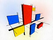 Blue Yellow Framed Prints - Mondrian 3D Framed Print by Michael Tompsett