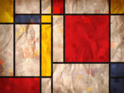 Abstract Tapestries Textiles Metal Prints - Mondrian Inspired Metal Print by Michael Tompsett