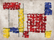 White Digital Art Posters - Mondrian Inspired Squares Poster by Michael Tompsett